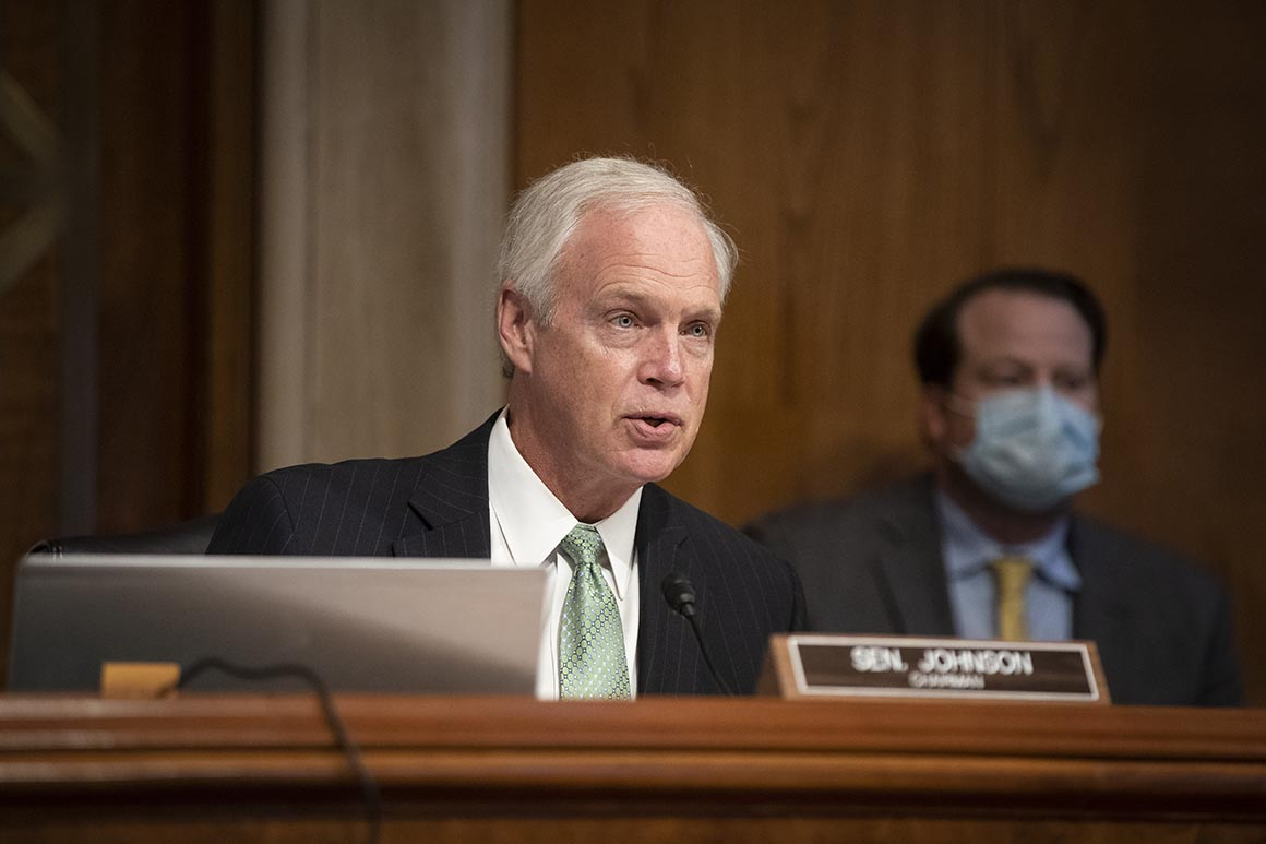 WASHINGTON, DC - JUNE 25: U.S. Senate Homeland Security Committee Chairman Ron Johnson (R-WI) presides over a hearing at the Capitol Building on June 25, 2020 in Washington, DC. (Photo by Alexander Drago-Pool/Getty Images)