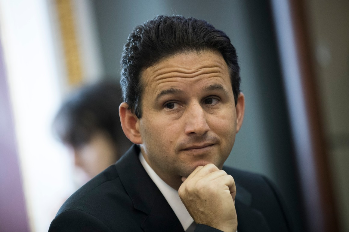Sen. Brian Schatz (D-Hawaii) speaks with reporters about health care on Capitol Hill