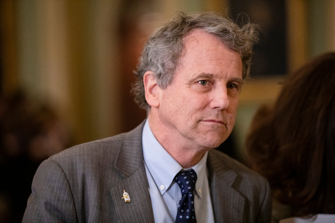 Sen. Sherrod Brown leaves the Senate floor during the Senate impeachment trial of President Donald Trump on January 27, 2020.