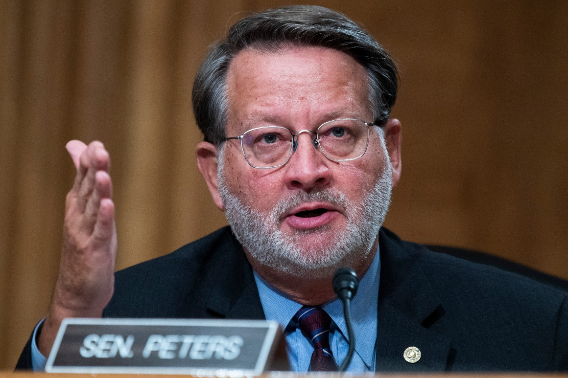 Sen. Gary Peters speaks during the Senate Homeland Security and Governmental Affairs Committee hearing on Thursday, September 24, 2020.