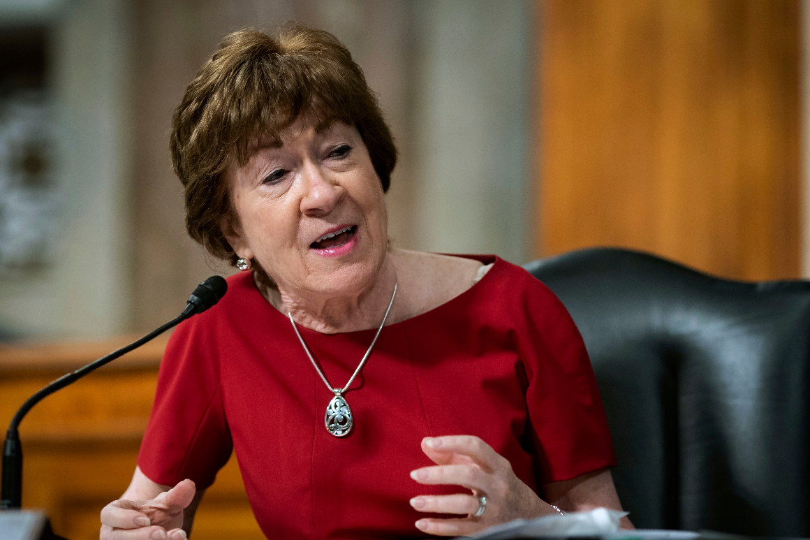 Sen. Susan Collins speaks during a Senate Health, Education, Labor and Pensions Committee hearing on Capitol Hill in Washington.